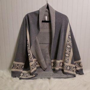 Lapis Tribal Open Front Wool Blend Cardigan
